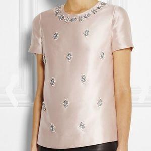 Tory Burch Vesper Embellished Woven Silk Blouse 10